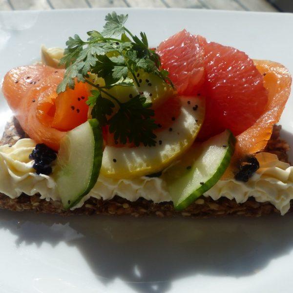 tarte fine de saumon et agrumes